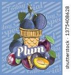 plum ice cream scoop in cones.... | Shutterstock .eps vector #1375408628