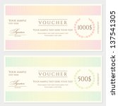 Voucher / Gift certificate template with colorful stripy pattern and border. Background usable for coupon, banknote, money design, currency, note, check etc. Vector in vintage color