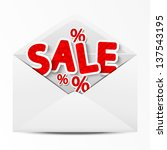 paper envelope with sale message | Shutterstock .eps vector #137543195