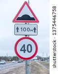 speed limit sign 40 forty ... | Shutterstock . vector #1375446758