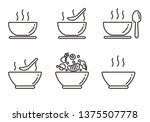 Set Of Soup Icon With Outline...
