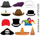 vector collection of hats or... | Shutterstock .eps vector #137551202