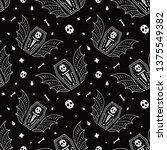 skull coffin vampire seamless... | Shutterstock .eps vector #1375549382