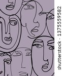 abstract face art one line... | Shutterstock .eps vector #1375559582