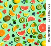 collection of mixed fruits... | Shutterstock . vector #1375567028