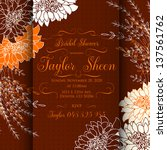 invitation or wedding card with ... | Shutterstock .eps vector #137561762