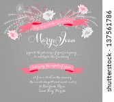 invitation or wedding card with ... | Shutterstock .eps vector #137561786