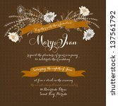 invitation or wedding card with ... | Shutterstock .eps vector #137561792