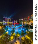 Small photo of SINGAPORE CITY, SINGAPORE - MARCH 6 , 2019: Theatres by the bay and the Spectra Light and Water Show at Marina Bay Sands