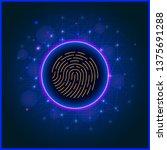fingerprint scan on abstract... | Shutterstock . vector #1375691288