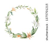 watercolor hand painted wreath... | Shutterstock . vector #1375701215
