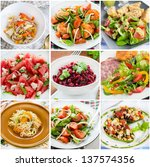 collage of healthy salads ... | Shutterstock . vector #137574356
