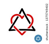 heart with triangle knot style... | Shutterstock .eps vector #1375745402