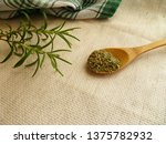 Dry Rosemary On Wooden Spoon...