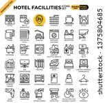 hotel facillities concept icons ...