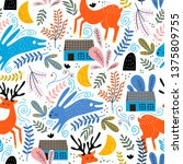 seamless woodland pattern with... | Shutterstock .eps vector #1375809755