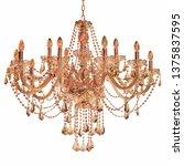 gold chandelier on a white...   Shutterstock . vector #1375837595