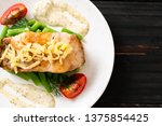 grilled snapper fish steak with ... | Shutterstock . vector #1375854425