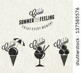 retro vintage style ice cream... | Shutterstock .eps vector #137585576