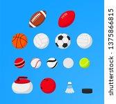 set of sport balls and...   Shutterstock .eps vector #1375866815