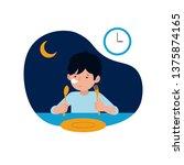 a sleepy kid must ready for... | Shutterstock .eps vector #1375874165