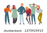 group of diverse happy people... | Shutterstock .eps vector #1375925915