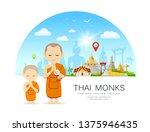 vector thai monks and thai... | Shutterstock .eps vector #1375946435
