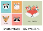cute animals heads with flower... | Shutterstock .eps vector #1375980878