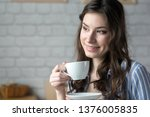 beautiful young blond woman in... | Shutterstock . vector #1376005835