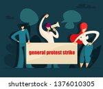 people holding protest signs.... | Shutterstock . vector #1376010305