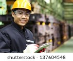 portrait asian engineer smiling ... | Shutterstock . vector #137604548