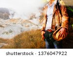 double exposure of backpacker... | Shutterstock . vector #1376047922
