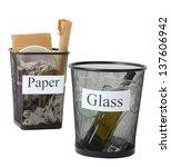 assorted trash in bucket... | Shutterstock . vector #137606942