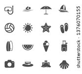 summer beach vector icons set...