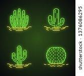 wild cacti in ground neon light ... | Shutterstock .eps vector #1376086295