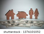 wood figure with business icons ... | Shutterstock . vector #1376101052