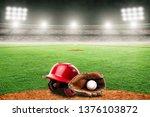 baseball helmet  glove and ball ...   Shutterstock . vector #1376103872