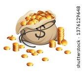 bag of money. gold coins stack. ... | Shutterstock .eps vector #1376129648