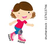 cute little girl riding roller... | Shutterstock .eps vector #137613746