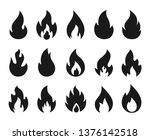 fire icons. burning flame... | Shutterstock .eps vector #1376142518