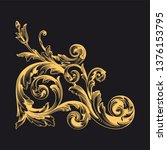 gold ornament baroque style....   Shutterstock .eps vector #1376153795