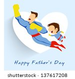 superhero father and son flying ... | Shutterstock .eps vector #137617208