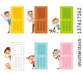 happy family who says hello... | Shutterstock . vector #137617262