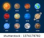solar system cartoon planets....   Shutterstock .eps vector #1376178782