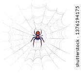 exotic danger spider with red... | Shutterstock . vector #1376194175
