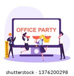 employees celebrate together a... | Shutterstock .eps vector #1376200298