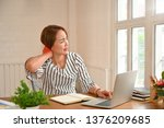 office syndrome  woman touching ...   Shutterstock . vector #1376209685