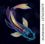 hand drawn ethnic fish  koi... | Shutterstock .eps vector #1376210075
