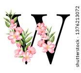alphabet. letter w  monogram... | Shutterstock . vector #1376213072