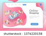 flat isometric landing page...   Shutterstock . vector #1376220158